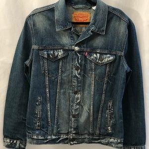LEVIS Men's Distressed Denim Jacket Size Large